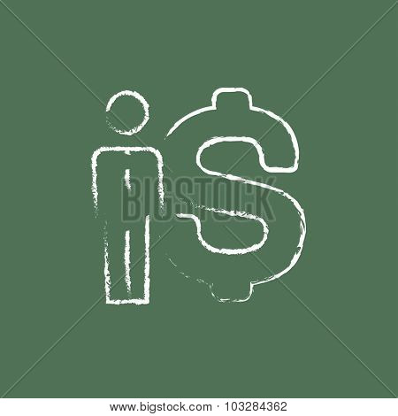 Businessman standing beside the dollar symbol hand drawn in chalk on a blackboard vector white icon isolated on a green background.