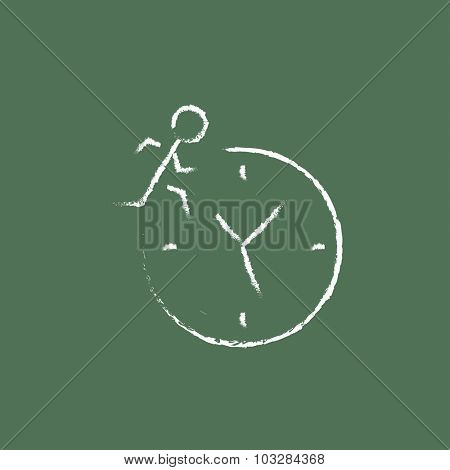 Time management hand drawn in chalk on a blackboard vector white icon isolated on a green background.