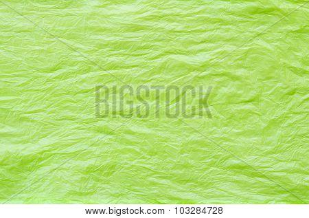 Crumpled Green Plastic Bag