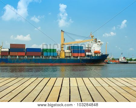 Growing Of Economic And Moving Of Cargo Ship.