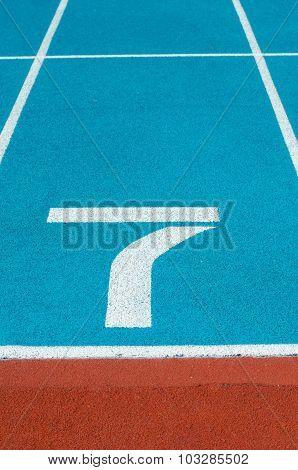 Athletics Track Lane In The Stadium