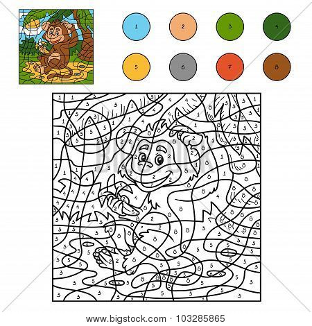 Color By Number, Game For Children: Monkey With A Banana