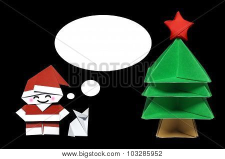 Origami in shape of Santa Claus, Christmas Tree and Fox with callout frame
