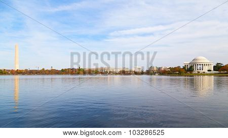 Washington Monument and Thomas Jefferson Memorial in the Fall