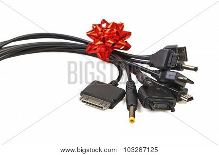 Universal recharger head isolated on white with reflection
