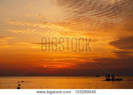 Sea Fishing At Sunset.