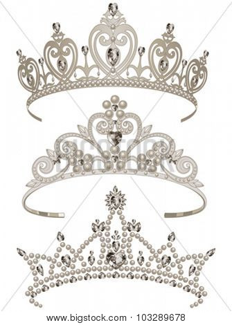 Illustration of shining tiaras set
