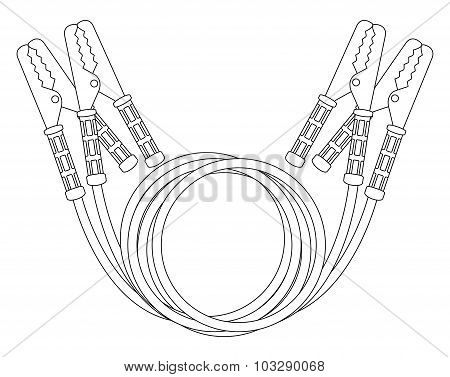 Car jumper power cables. Contour