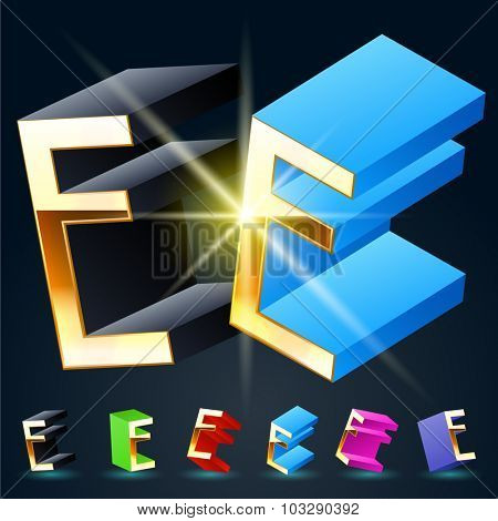 3D vector futuristic luxury alphabet with gold. All symbols in set have 8 random points of view and 6 different colors. Letter E