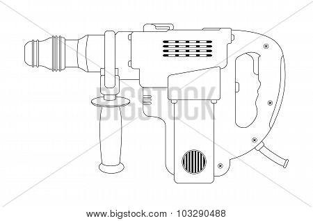 Big electric hammer drill. Contour