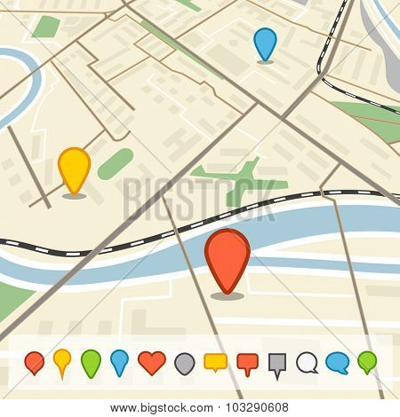 Abstract city map in perspective with different color pins