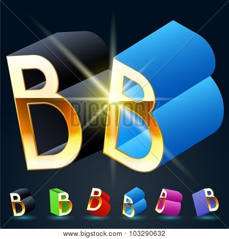 3D vector futuristic luxury alphabet with gold. All symbols in set have 8 random points of view and 6 different colors. Letter B