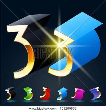 3D vector futuristic luxury alphabet with gold. All symbols in set have 8 random points of view and 6 different colors. Number 3