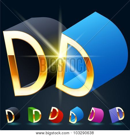 3D vector futuristic luxury alphabet with gold. All symbols in set have 8 random points of view and 6 different colors. Letter D