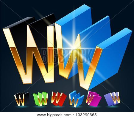 3D vector futuristic luxury alphabet with gold. All symbols in set have 8 random points of view and 6 different colors. Letter W