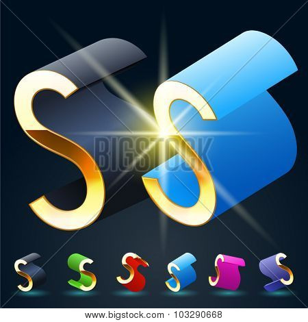3D vector futuristic luxury alphabet with gold. All symbols in set have 8 random points of view and 6 different colors. Letter S