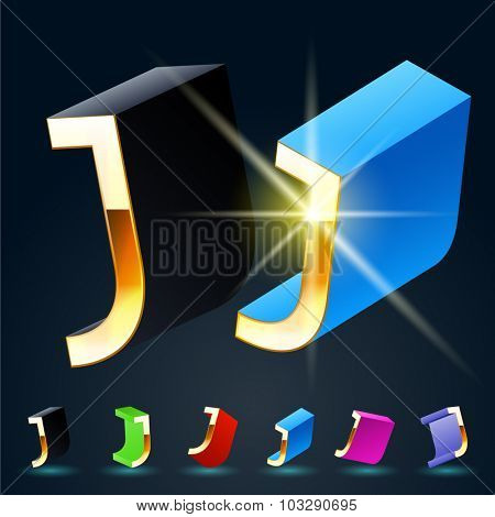 3D vector futuristic luxury alphabet with gold. All symbols in set have 8 random points of view and 6 different colors. Letter J