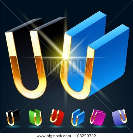 3D vector futuristic luxury alphabet with gold. All symbols in set have 8 random points of view and 6 different colors. Letter U