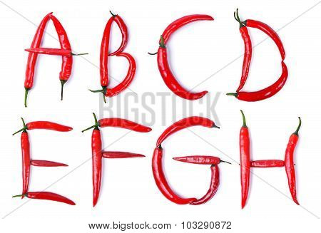 The letter A, B, C, D, E, F, G, H, composed of red chili peppers