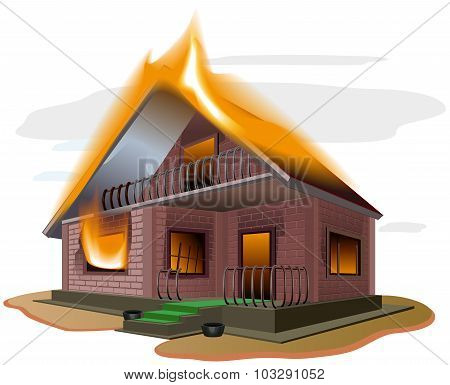 Brick house burns. Cottage fire. Vacation home. Property insurance