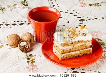 Tea And Cake With Walnuts