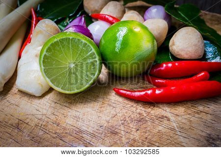 Close Up Still Life With Ingredients Thai Food (tom Yum) On Wooden Background.