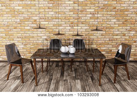 Interior Of Dining Room 3D