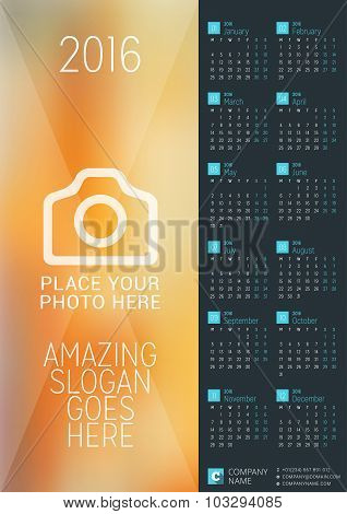 Wall Calendar Poster For 2016 Year. Vector Design Print Template With Place For Photo. Week Starts M