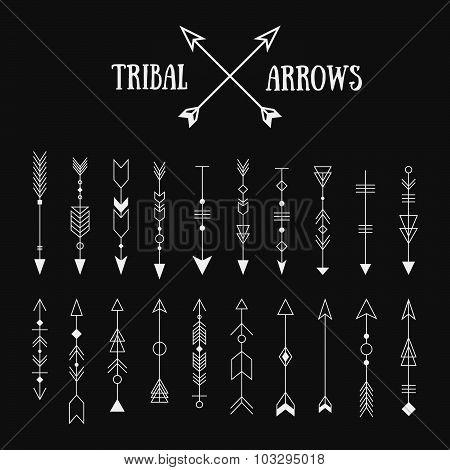 Set Of Hipster Tribal Arrows On Chalkboard Background. Line Vintage Vector Design Collection. Ethnic