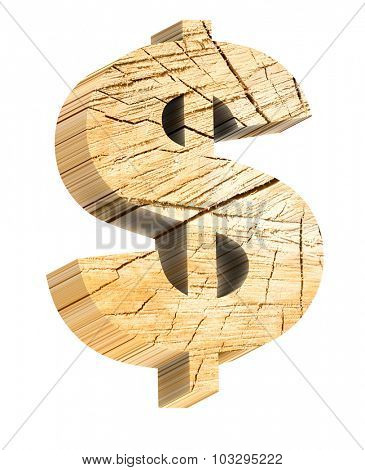 Dollar sign from pine wood alphabet set isolated over white. Computer generated 3D photo rendering.