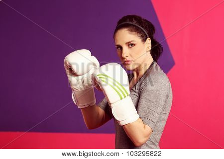 Portrait Of A Female Boxer With Gloves