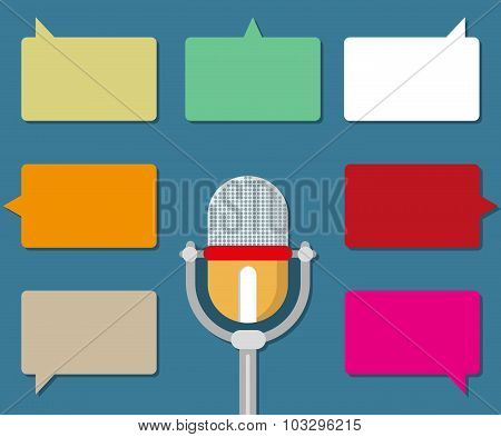 Microphone With Speech Bubble Icons