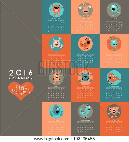 2016 calendar illustrated with cute little monsters