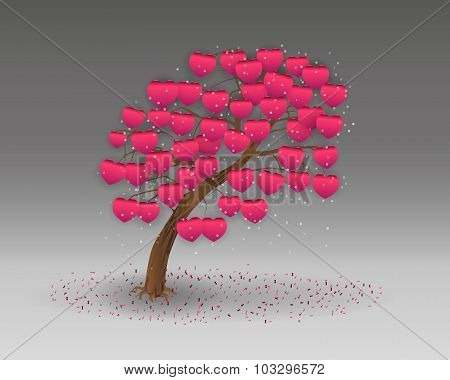 Love Tree Having  Heart Shapes