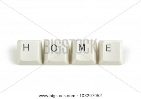 Home From Scattered Keyboard Keys On White