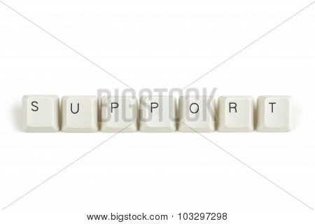 Support From Scattered Keyboard Keys On White