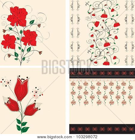 Set of four (4) vintage invitation cards with ornate elegant retro abstract floral designs, red flowers on tan. Vector illustration.