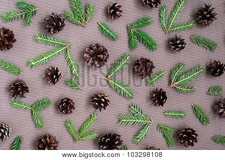 Pine twigs and cones pattern