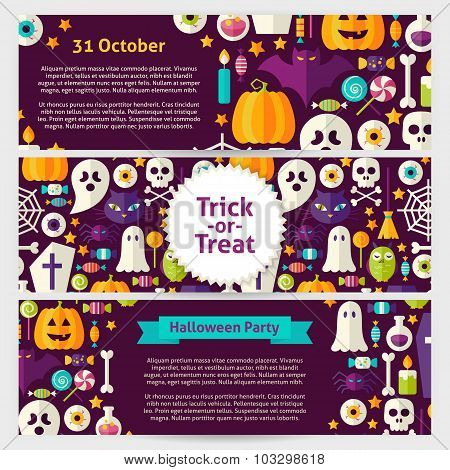 Halloween Party Concept Vector Template Banners Set In Modern Flat Style