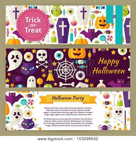 Trick Or Treat Halloween Vector Template Banners Set In Modern Flat Style