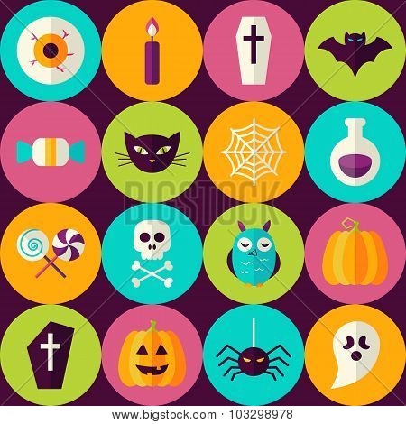 Flat Halloween Party Trick Or Treat Seamless Pattern With Colorful Circles