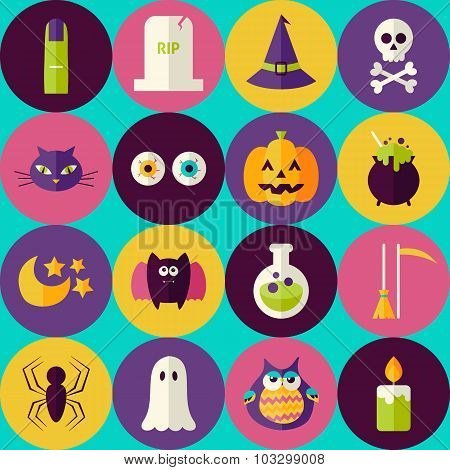 Flat Magic Halloween Witch Seamless Pattern With Colorful Circles