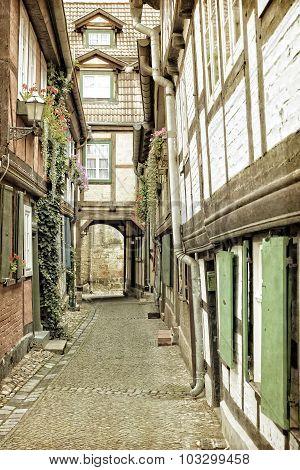 Historic alleyway in Quedlinburg town, East Germany