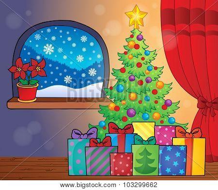 Christmas tree and gifts theme image 2 - eps10 vector illustration.