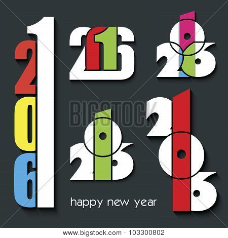 2016 Happy New Year Set Of Creative Numbers Combination  For Your Greetings Card, Flyers, Invitation
