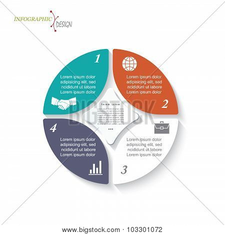 Infographic Circle Template For Business Project Or Presentation. Vector Illustration