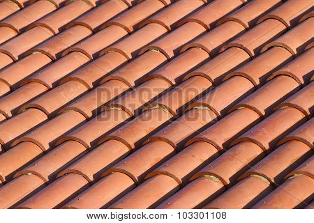 Background ornament terracotta red tiles in the Mediterranean