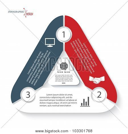 Infographic Template In Form Triangle Can Be Used For Presentation, Web Design, Diagram, Options