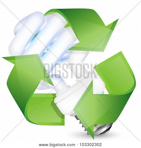 Energy Saving Fluorescent Light Bulb With Recycle Sign