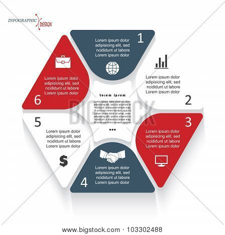 Infographic Template With Six Segments For Business Project Or Presentation. Vector Illustration